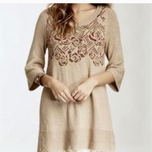 Free People tan w floral knit sweater can be dress
